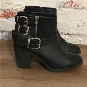 Divided Black Boots with Silver Buckles